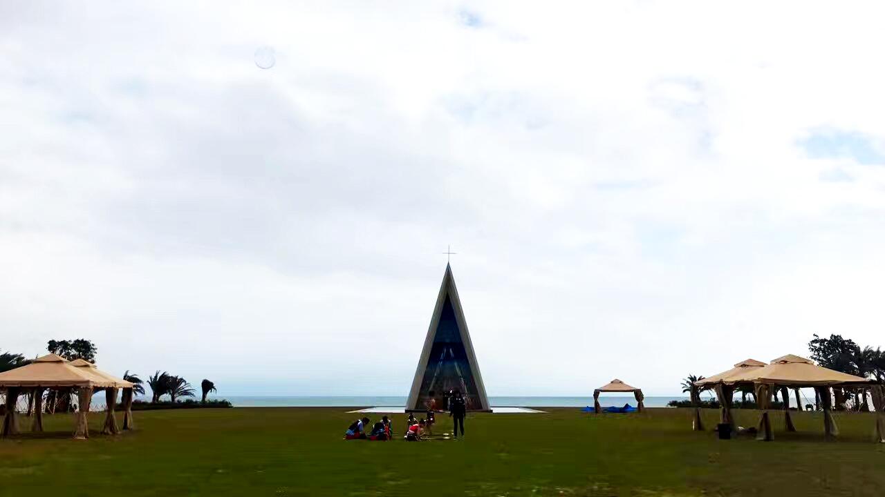 融创日月湾实景图 海边婚礼教堂