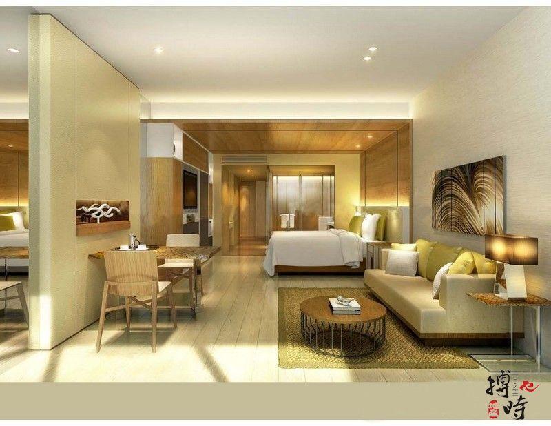 公寓样板间效果图:卧室+客厅